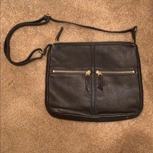 Black leather Fossil crossbody bag